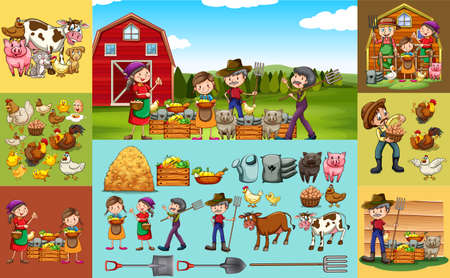 woman gardening: Farmers and animals on the farm  illustration