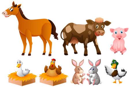 Different kinds of farm animals illustration Illustration