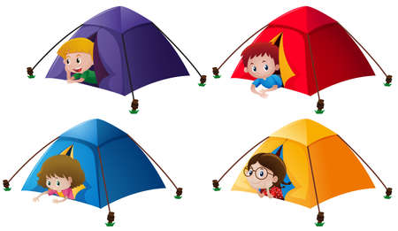 Boys and girls in the tents illustration