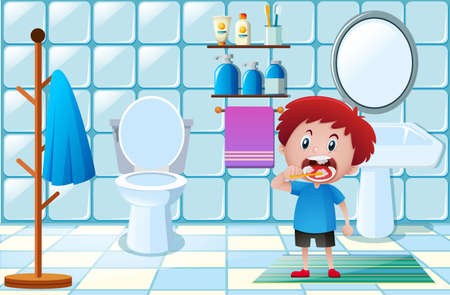 Little boy brushing teeth in toilet illustration