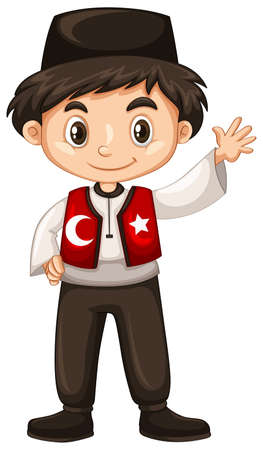 Turkish boy waving hand hello illustration Ilustração
