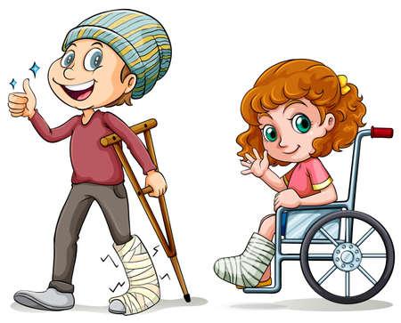 骨折した足の図を持つ人々