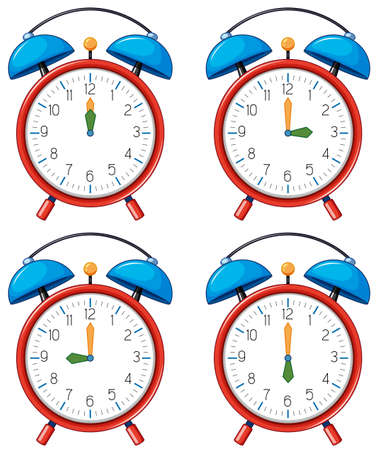 Different time on alarm clocks illustration