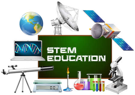 Stem education on board and different devices illustration Vectores