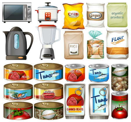 drawings image: Canned food and electronic kitchen devices illustration