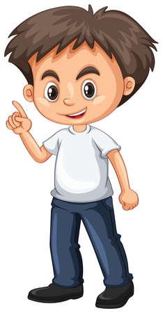 Little boy pointing finger illustration
