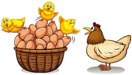 Chicken and eggs in basket illustration  イラスト・ベクター素材