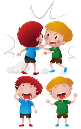Two boys fighting and crying illustration Illustration