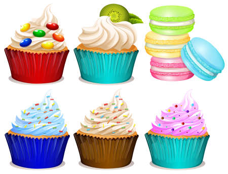 Different flavor of cupcakes illustration