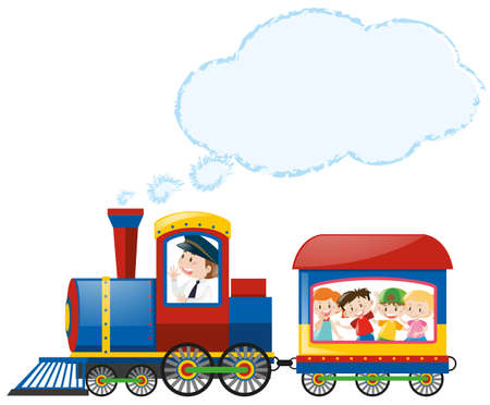 Children riding on train illustration
