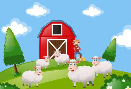 Farm scene with farmer and sheeps illustration