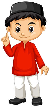 Indonesian boy in red shirt illustration