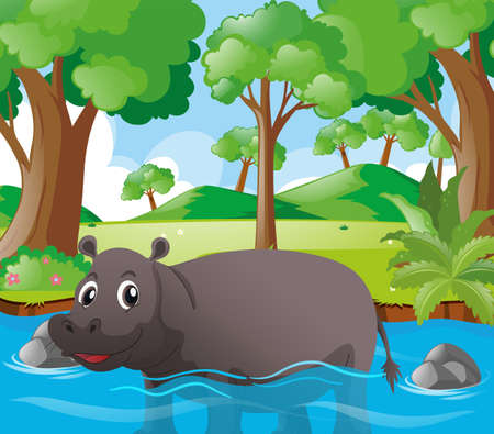 tropical: Hippon standing in river illustration