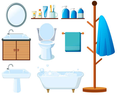 Bathroom equipments on white background illustration