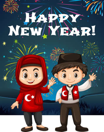 Turkish kids on New Year card illustration