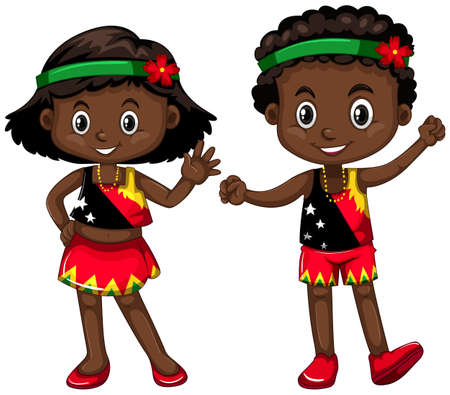 Boy and girl from Papua New Guinea illustration Illustration