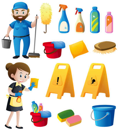 Male and female cleaners with cleaning equipments illustration Illustration