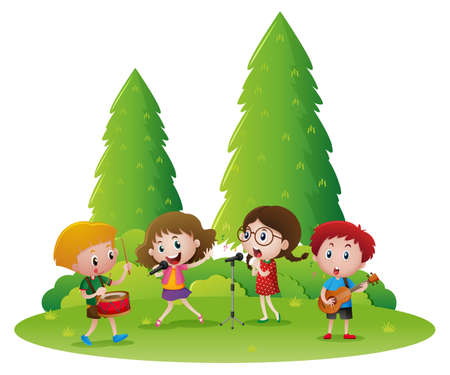 drawings image: Childrens playing music and singing song illustration