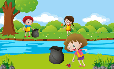 Kids cleaning up the park illustration Stok Fotoğraf - 80862768