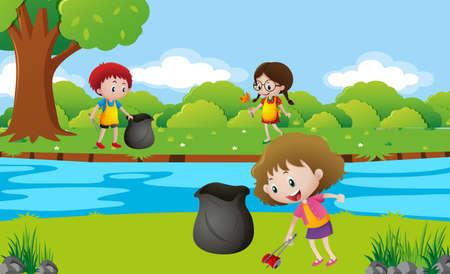 Kinderen schoonmaken van de park illustratie