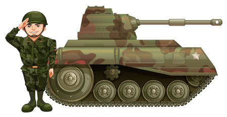 drawings image: Soldier and military tank illustration