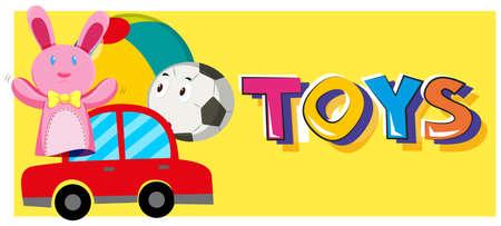 Wort Spielzeug und verschiedene Arten von Spielzeug Illustration
