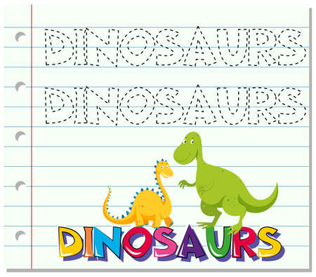 layout: Tracing word for dinosaurs illustration