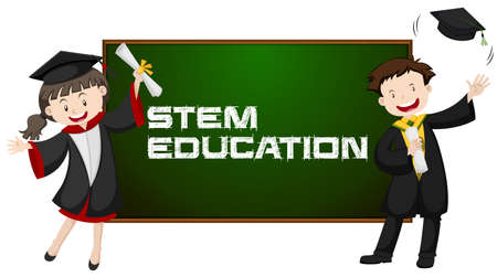 Stem education and two graduated students illustration