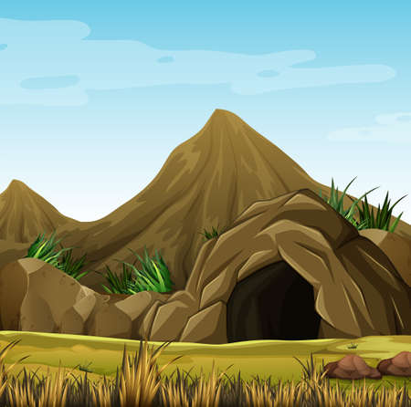 green environment: Scene with cave in the mountain illustration Illustration