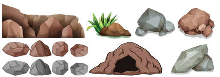 brown: Cave and different shapes of rocks illustration