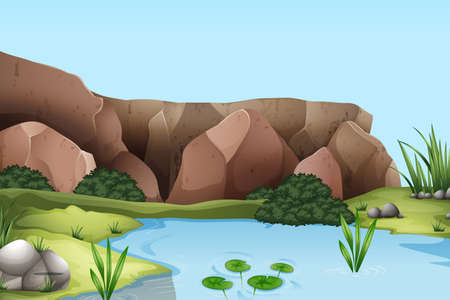 Scene with river and cliff illustration