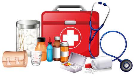 medical illustration: Different types of medical equipments illustration Illustration