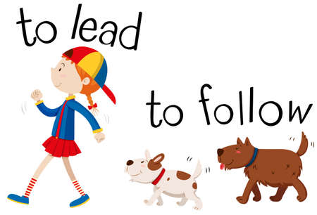 Opposite wordcard for to lead and to follow illustration Illustration