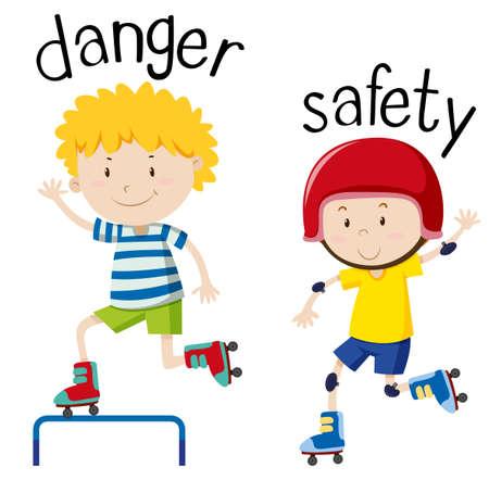 위험과 안전 그림에 반대하는 단어 카드