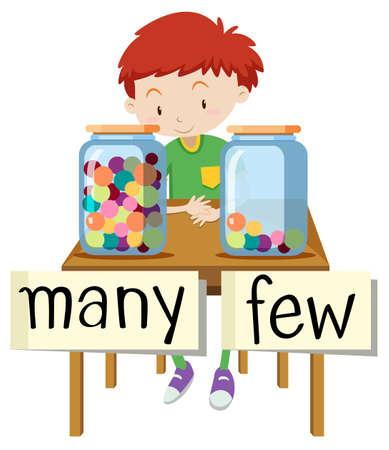 Opposite wordcard for many and few illustration Illustration