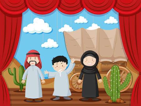 western town: Arab family on stage illustration Illustration