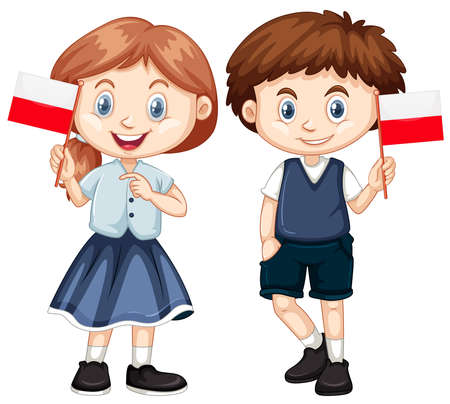 Boy and girl with Poland flag illustration Illustration