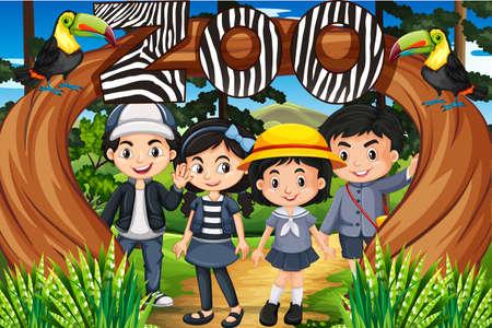 Children standing under the zoo sign illustration Illustration