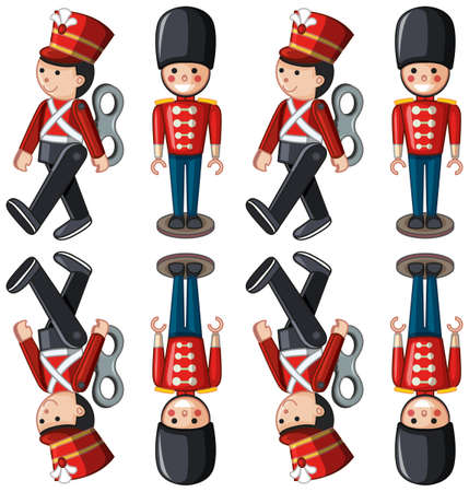Toy soldiers in different positions illustration Ilustracja
