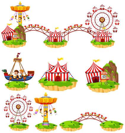 Different rides at amusement park illustration