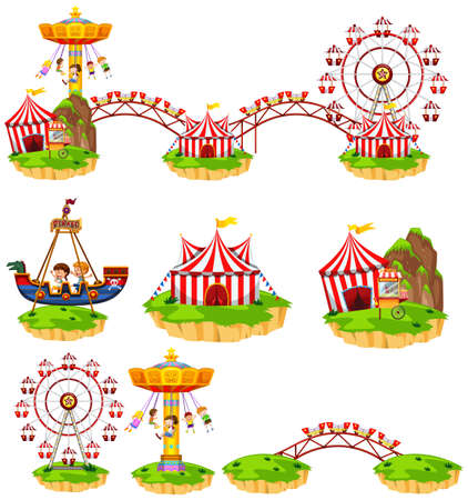 Different rides at amusement park illustration