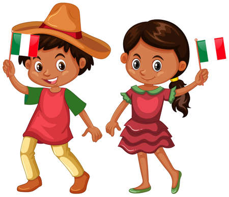 Boy and girl from Mexico illustration