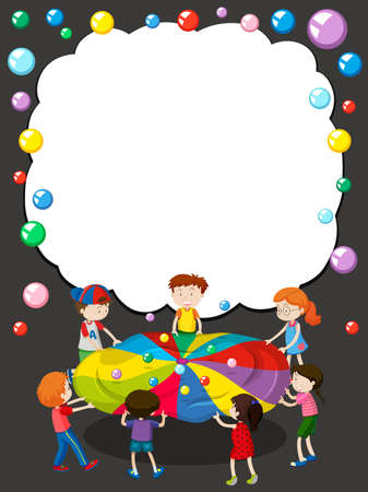 creative: Border template with children playing ball illustration