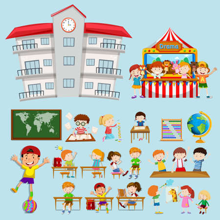 School scenes with kids in classroom illustration Illustration