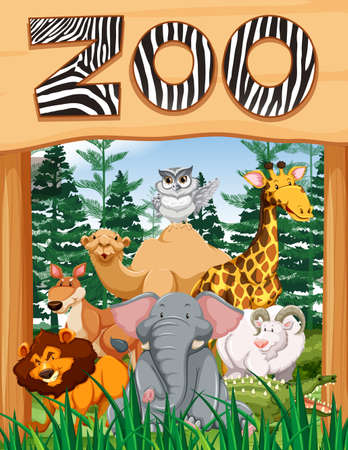 Wild animals under zoo sign illustration