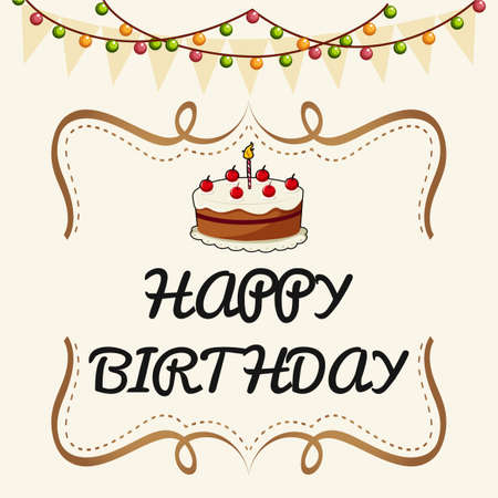 Happy Birthday card template with cake and lights illustration