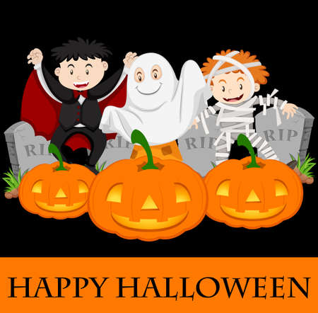 Happy Halloween card template with kids in costume illustration