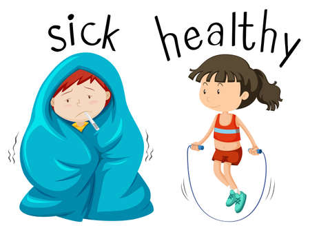 Opposite wordcard for word sick and healthy illustration Illustration