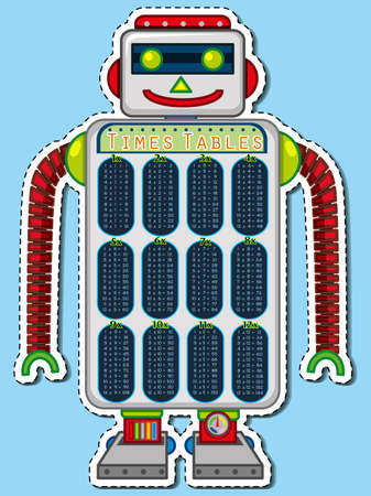 multiplication: Times tables chart on robot toy illustration Illustration