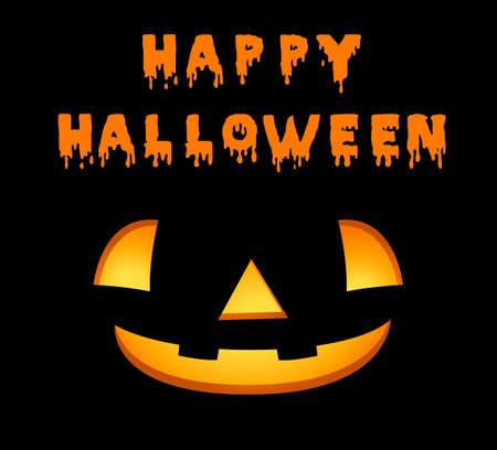 Happy halloween card template with jack-o-lantern illustration